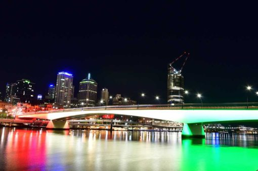 Victoria Bridge, Brisbane at night