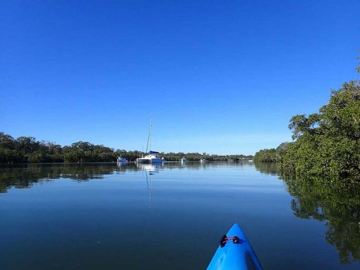 Kayaking in Brisbane past the boats moored in Tingalpa Creek