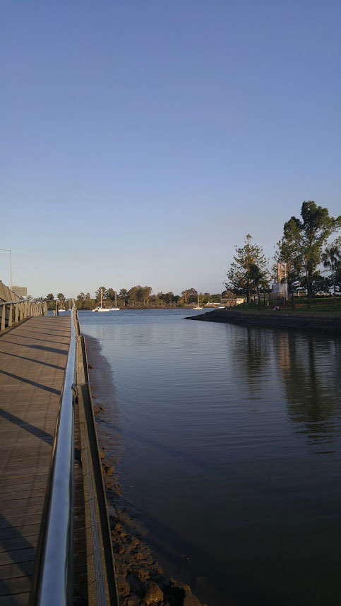 mouth of Breakfast Creek looking onto moored boats in the Brisbane River