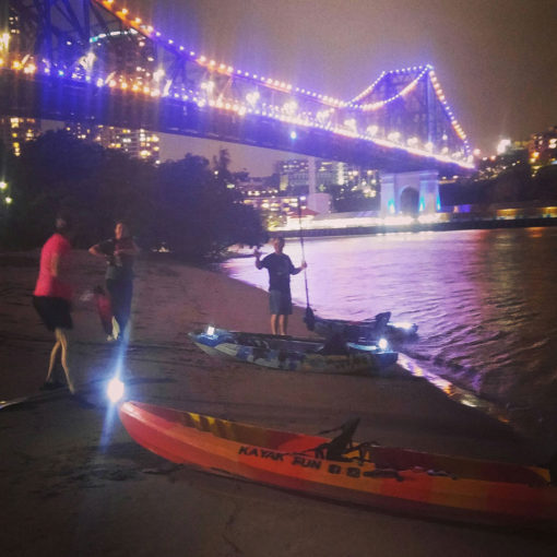 Night kayaking Brisbane River at Kangaroo Point