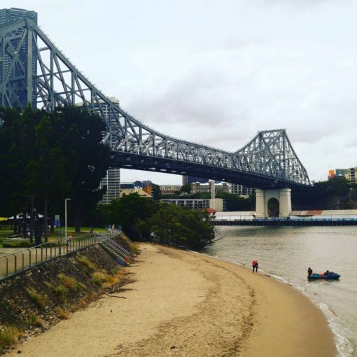 the sand under the Storey Bridge, Brisbane